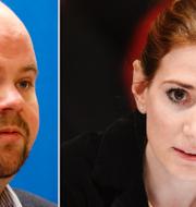 KD:s partisekreterare Peter Kullgren och avhoppade riksdagsledamoten Caroline Szyber. TT