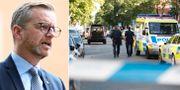 Mikael Damberg/poliser i Sollentuna efter skjutning i helgen.  TT.