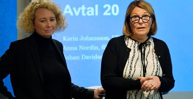 Svensk Handels förhandlingschef Anna Nordin och Svensk handels vd Karin Johansson Anders Wiklund/TT / TT NYHETSBYRÅN