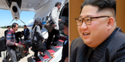 Sydkoreanska journalister går ombord på flygplan i Seoul/Kim Jong-Un. TT
