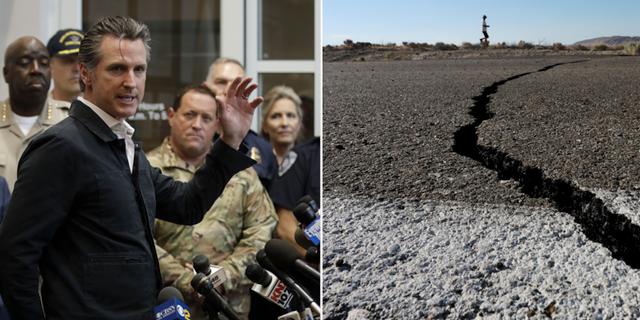 Gavin Newsom, guvernör i Kalifornien höjer ett varningens finger. TT