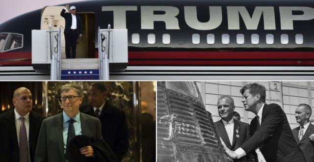 Arkivbilder på Trump och JFK samt bild på Gates i Trump Towers lobby. TT