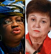 Janet Yellen, USA:s finansminister, Ngozi Okonjo-Iweala, WTO, Kristalina Georgieva, IMF och Christine Lagarde, ECB.  TT