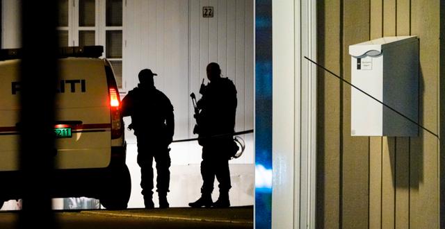 Polisinsatsen i Kongsberg/pil i en husvägg TT