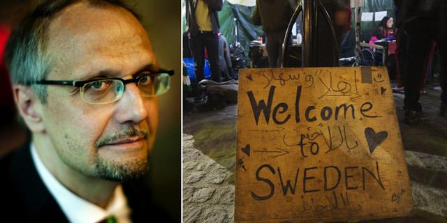 Ulf Bjereld till vänster. Bild från manifestation i Stockholm till höger. TT