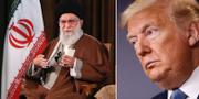 Ali Khamenei i samband med dagens tal/Donald Trump. TT