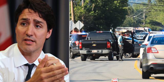 Justin Trudeau/Räddningstjänst på väg mot  Fredericton TT