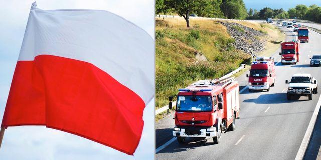 Polsk flagga / Konvoj av med polska brandbilar passerar Vätterleden på E4 i Småland. Tookapic / TT