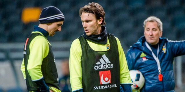 Zlatan Ibrahimovic, Albin Ekdal och Erik Hamrén år 2016. SIMON HASTEGÅRD / BILDBYRÅN