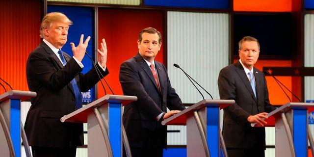 Donald Trump, Ted Cruz och John Kasich 2016. Paul Sancya / TT NYHETSBYRÅN/ NTB Scanpix