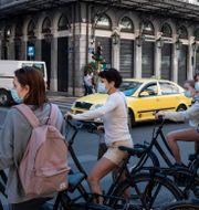 Turister i Aten på lördagen. Yorgos Karahalis / TT NYHETSBYRÅN