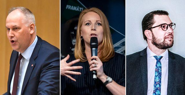 Jonas Sjöstedt, Annie Lööf och Jimmie Åkesson.  TT
