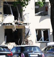 Explosionen orsakade stora skador på fastigheten.  Jeppe Gustafsson/TT / TT NYHETSBYRÅN