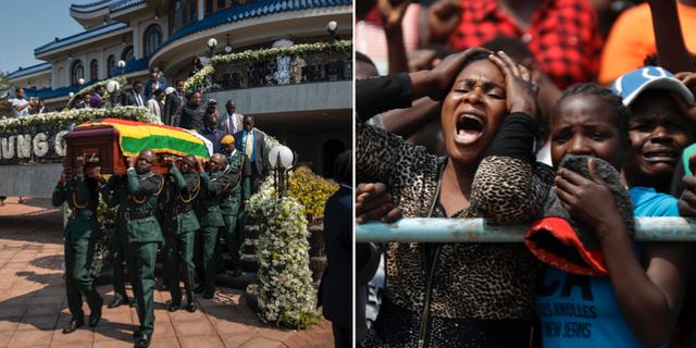 Mugabes kista bärs fram till en helikopter/invånare sörjer Mugabes död. TT