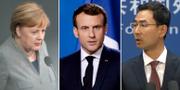 Merkel, Macron, Shuang.  TT