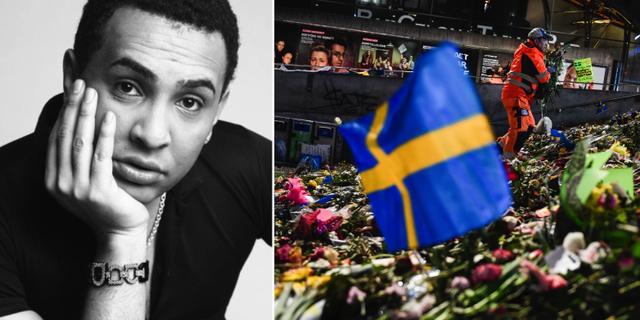 Privat. Till höger: Bilder från blommorna på Sergels torg i Stockholm efter terrordådet.