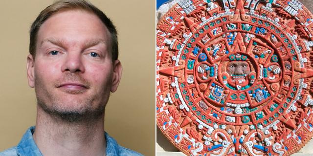 Historiepoddens Daniel Hermansson / Aztekisk kalender av sten.  Sven Prim / Wikimedia commons