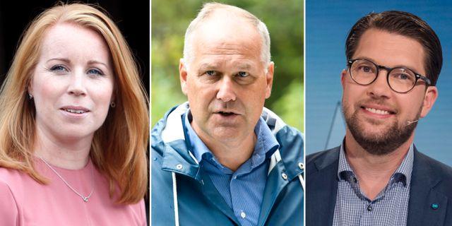 Annie Lööf, Jonas Sjöstedt, Jimmie Åkesson. TT