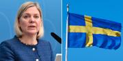 Finansminister Magdalena Andersson (S) presenterar OECD-rapporten. TT