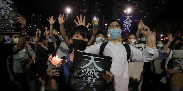 Demonstrationer i Hongkong.  Kin Cheung / TT NYHETSBYRÅN