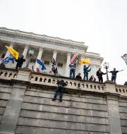 Trumpanhängare som tar sig in på Kapitolium.  Jose Luis Magana / TT NYHETSBYRÅN