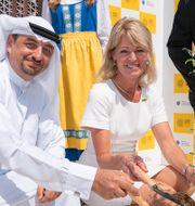 Nya utrikeshandelsministern Anna Hallberg (S) med Najeeb Mohammed Al-Ali, chef för Expo 2020 Expo2020 / TT NYHETSBYRÅN