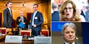 Per Bolund (MP) med riksbankschef Stefan Ingves och FI-chefen Erik Thedéen (arkivbild). Swedbanks vd Birgitte Bonnesen och Nordeas dito Casper von Koskull.  TT