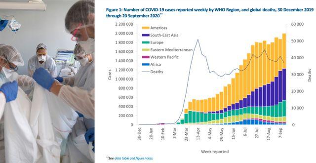 Sjukvårdspersonal i Frankrike. WHO:s grafik över antalet smittade och döda. TT/WHO