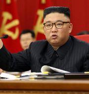 Bild från mötet igår släppt av Nordkoreas regering. TT NYHETSBYRÅN