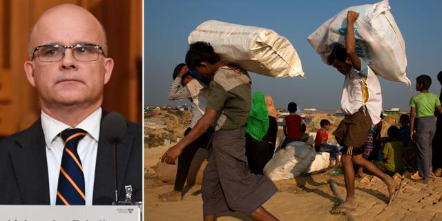 Aleksander Gabelic till vänster. Till höger: Rohingyer i flyktingläger i Bangladesh.