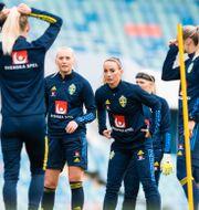 Stina Blackstenius och Kosovare Asllani i träning.  MATHIAS BERGELD / BILDBYRÅN