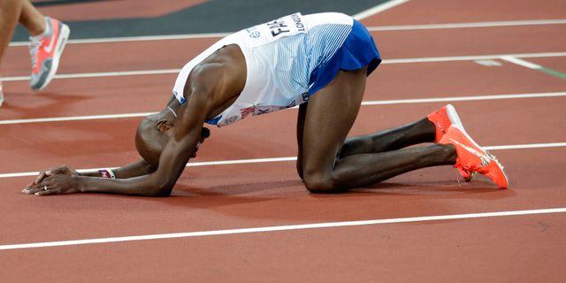 Mo Farah efter att han tog silver på 5000 meter. Matthias Schrader / TT NYHETSBYRÅN