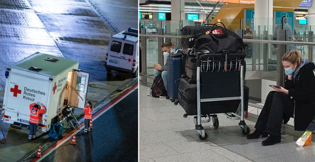 Vänster: Ambulanser utanför flygplatsen i Hannover på söndagskvällen. Höger: Resenärer väntar på flygplatsen Gatwick på söndagen.  TT