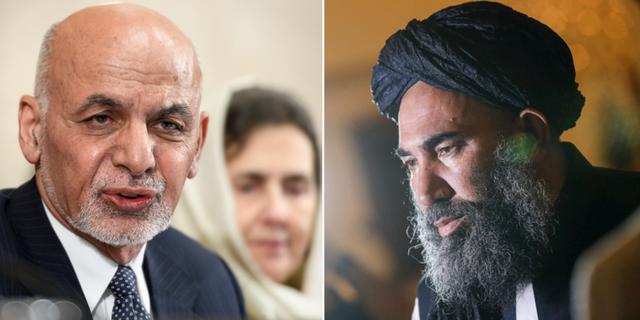 Afghanistans president Ashraf Ghani och Abdul Salam Zaeef, högt uppsatt företrädare för talibanrörelsen.  TT
