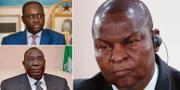 Francois Bozize uppe till vänster, Michel Djotodia nere till vänster och nuvarande presidenten Faustin-Archange Touadera till höger. TT