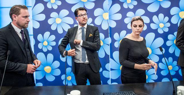 Sverigedemokraternas gruppledare Mattias Karlsson, partiledare Jimmie Åkesson och Paula Bieler. Arkivbild. Tomas Oneborg/SvD/TT / TT NYHETSBYRÅN