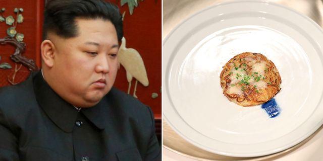 Till vänster: Kim Jong-Un besökte i går den kinesiska ambassaden efter olyckan där flera kinesiska turister dog i en olycka i Nordkorea. Till höger: En bild på  röstin, på en bild från Sydkoreas presidentkansli AFP PHOTO / The Blue House