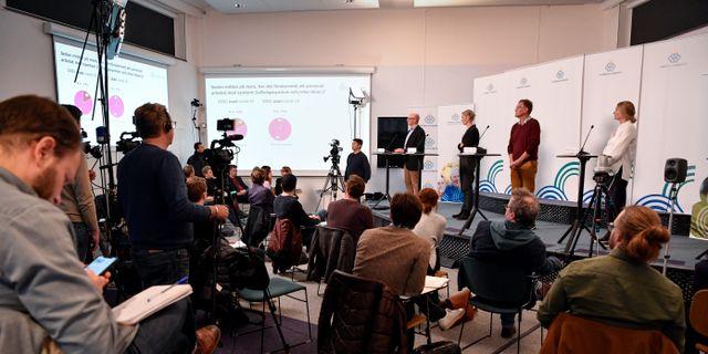 Bild från tidigare presskonferens.  Jessica Gow/TT / TT NYHETSBYRÅN