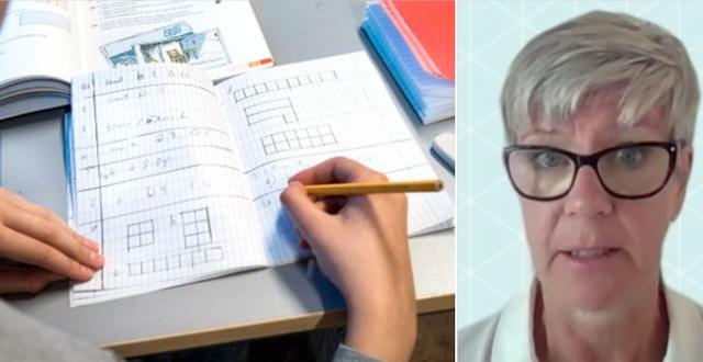 Elev under en matematiklektion och Skolverkets Katarina Tiväng. TT/Skärmdump