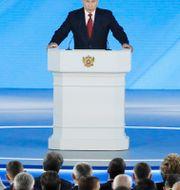Vladimir Putin under sitt tal idag. Shamil Zhumatov / TT NYHETSBYRÅN