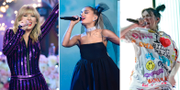 Taylor Swift, Ariana Grande och Billie Eilish. TT