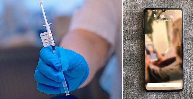 """Vaccin / Mobil som visar inloggninssidan till """"Alltid öppet"""". TT."""