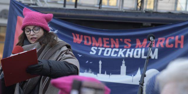Amanda Ooms under Women's March Stockholm. Janerik Henriksson/TT / TT NYHETSBYRÅN