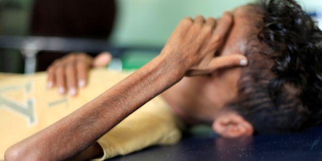 En undernärd pojke på ett sjukhus i Sanaa. ANEES MAHYOUB / TT NYHETSBYRÅN