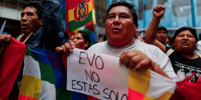 Demonstranter visar sitt stöd för Evo Morales. AGUSTIN MARCARIAN / TT NYHETSBYRÅN