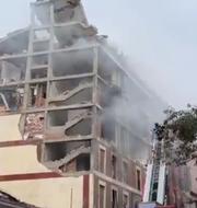 Huset där explosionen har skett Emergencias Madrid/Twitter