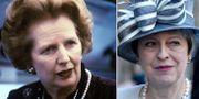 Margaret Thatcher och Theresa May. Arkivbilder. TT