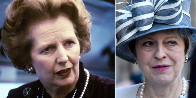 Margaret Thatcher och Theresa May. Arkivbilder. TT
