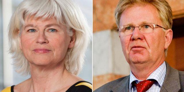 Trafikutskottets ordförande Karin Svensson Smith (MP) och Transportstyrelsens ordförande Rolf Annerberg. Fredrik Hjerling/TT