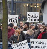 Bild från manifestationen. TT